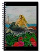 Mermaid Sailboat Flowers Cathy Peek Fantasy Art Spiral Notebook