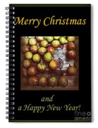 Merry Christmas And A Happy New Year - Little Gold Pears And Leaf - Holiday And Christmas Card Spiral Notebook