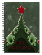 Merry Christmas Greeting - Tree And Star Fractal Spiral Notebook