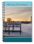 Merry Christmas Winter Marina And Lighthouse Spiral Notebook
