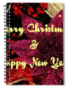Merry Christmas With Purple Poinsettia Spiral Notebook