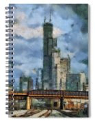 Metra Train View Sears Willis Tower Mixed Media 03 Spiral Notebook