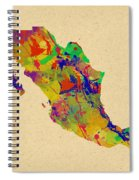 Mexico Map Watercolor Spiral Notebook