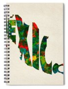 Mexico Typographic Watercolor Map Spiral Notebook