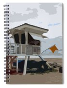 Miami Beach Lifeguard Station II Abstract Spiral Notebook