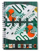 Miami Dolphins Football Recycled License Plate Art Spiral Notebook