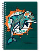 Miami Dolphins Football Team Retro Logo Florida License Plate Art Spiral Notebook