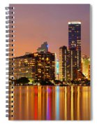 Miami Skyline At Dusk Spiral Notebook
