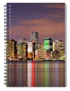 Miami Skyline At Dusk Sunset Panorama Spiral Notebook