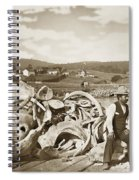 Michael Noon Sitting On A  Pile Of Whale Bones Monterey Wharf  Circa 1896 Spiral Notebook