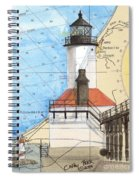 Michigan City Lighthouse In Nautical Chart Map Art Cathy Peek Spiral Notebook