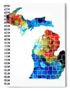 Michigan State Map - Counties By Sharon Cummings Spiral Notebook