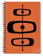 Mid Century Shapes 2 On Orange Spiral Notebook