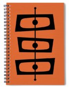 Mid Century Shapes On Orange Spiral Notebook