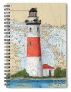 Middle Island Lighthouse Mi Cathy Peek Nautical Chart Art Spiral Notebook