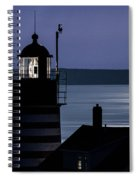 Midnight Moonlight On West Quoddy Head Lighthouse Spiral Notebook