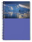midnight sun with moon in Greenland Spiral Notebook