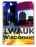 Milwaukee Wi Patriotic Large Cityscape Spiral Notebook