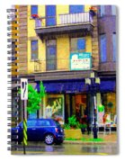Mimi And Coco Clothing Boutique Laurier In The Rain  Plateau Montreal City Scenes Carole Spandau Art Spiral Notebook