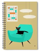 Mini Abstract With Aqua Chair Spiral Notebook