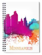 Minneapolis City Colored Skyline Spiral Notebook