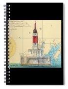 Minneapolis Shoals Lighthouse Mi Nautical Chart Map Art Spiral Notebook
