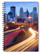 Minneapolis Skyline At Dusk Early Evening Spiral Notebook
