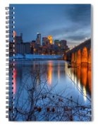 Minneapolis Skyline Images Stone Arch Bridge Spring Evening Spiral Notebook