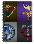 Minneapolis Sports Fan Recycled Vintage Minnesota License Plate Art Wild Vikings Timberwolves Twins Spiral Notebook