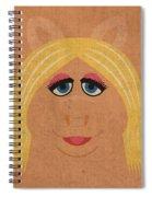 Miss Piggy Vintage Minimalistic Illustration On Worn Distressed Canvas Series No 011 Spiral Notebook