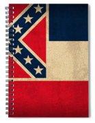 Mississippi State Flag Art On Worn Canvas Spiral Notebook
