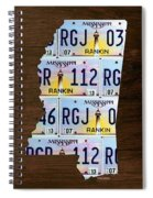 Mississippi State License Plate Map Art Spiral Notebook