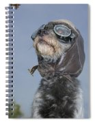 Mixed Breed Dog Dressed In Leather Cap Spiral Notebook
