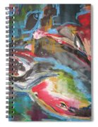 Mobie Joe The Whale-original Abstract Whale Painting Acrylic Blue Red Green Spiral Notebook