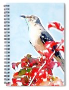 Mockingbird In The Leaves - Watercolor Spiral Notebook
