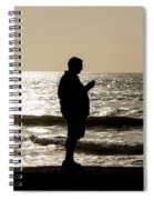 Modern Man Looking At Smart Phone Spiral Notebook