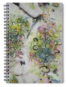 Modern Spring Blossom Art Painting Flower Butterfly Art Acrylic Ink Rice Paper Green Yellow Pink Sjk Spiral Notebook