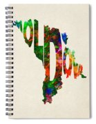 Moldova Typographic Watercolor Map Spiral Notebook