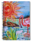 Momma And Baby Flamingo Chillin In A Blue Lagoon  Spiral Notebook
