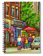 Monkland Taverne Monkland Village Paintings Of Montreal City Scenes Notre Dame De Grace Cafe Scenes Spiral Notebook