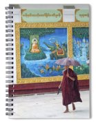 Monks In Rain At Shwedagon Paya Temple Yangon Myanmar Spiral Notebook