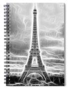 Monochrome Eiffel Tower Fractal Spiral Notebook