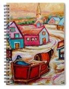 Mont St.hilaire Going Towards The Village Quebec Winter Landscape Paintings Carole Spandau Spiral Notebook