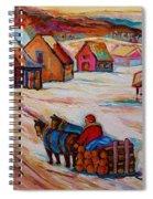 Mont St.hilaire Winter Scene Logger Heading Home To Quebec Village Winter Landscape Carole Spandau Spiral Notebook