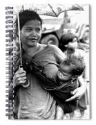 Montagnard Woman With Umbrella And Child Spiral Notebook