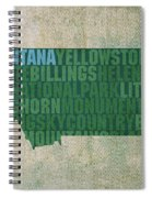 Montana Word Art State Map On Canvas Spiral Notebook