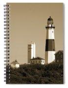 Montauk Point Light In Sepia Spiral Notebook