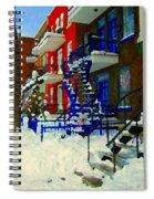 Montreal Art Streets Of Verdun Winter Scenes Winding Staircases Snowscenes Carole Spandau Spiral Notebook