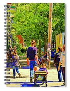 Montreal Art Summer Cafe Scene Rue Laurier Family Day Wagon Ride City Scene Art By Carole Spandau Spiral Notebook