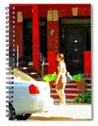 Montreal Art Summer Stroll On A Sunny Morning Colorful Street Verdun City Scene Carole Spandau Spiral Notebook